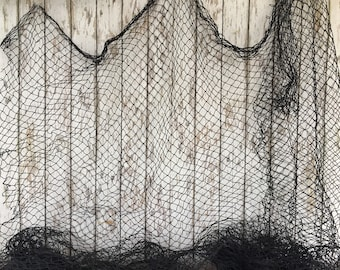 Old Used Fishing Net - BLACK - 5 ft x 8 ft - Vintage Fish Netting - Great For Crafts - Nautical Maritime Decor