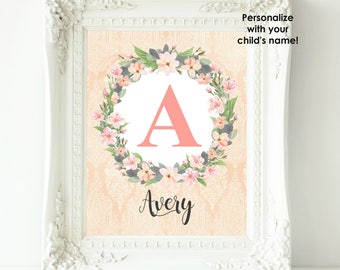 Personalized Nursery Art, Baby Girl Nursery Wall Decor Custom Name Print Coral Gray Nursery Wall Art Girl Wall Art Floral Monogram Baby Gift