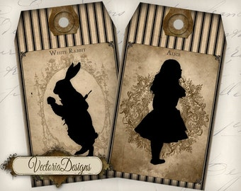 Alice in Wonderland Silhouette Tags instant download printable gift tags digital Collage Sheet VD0715