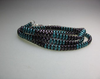 Hand Stitched Three Wrap Bracelet Multiple Seed Beads Mardi Gras Colors