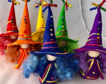 A Rainbow of Witches Set II, Wool Felt Witch, Peg Doll Witch, Waldorf Inspired, Art Doll