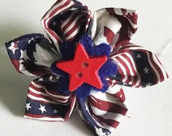 Patriotic Flag Flower for Girl Dog or Cat Collar