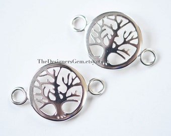 One Sterling Silver Tree of Life Charm Connector with Closed Loop 29 x 18mm