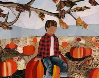 Pumpkin Patch art collage 8x10 print