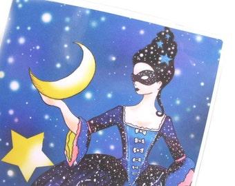 Passport Cover - Queen of Night - passport holder - stars and moon night sky - fits US passports - constellations