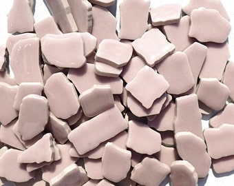 Mosaic Ceramic Tiles in Pale Purple -  Random Shapes - Half Pound - Light Lilac Assorted Sizes Jigsaw Pieces - Mosaic Art Supplies