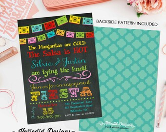 Fiesta Invitation couples shower bridal papel picado stock the bar I do BBQ engagement party rehearsal dinner adults only   301 Katiedid