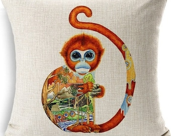 Monkey Pillow Cover