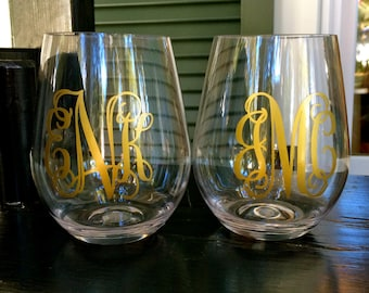 Monogrammed Plastic Stemless Wine Glass