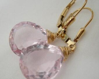 Morganite Pink Quartz Gold Fill Earrings