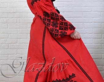 Ukrainian linen embroidered dress vyshyvanka, vyshyvanka dress, ukrainian dress