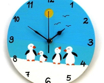 Wooden Wall Clock With Penguins Painting