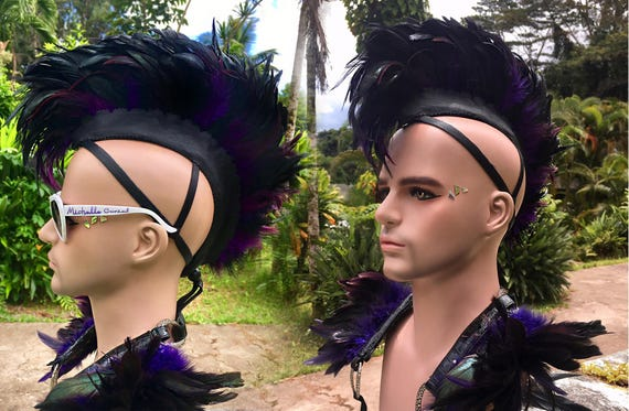 "Made to order: ""Keoki"" Customizable Feather Mohawk / Headdress; Mardi Gras,  festivals, burning man, raves, Carnivale, costume, cosplay"