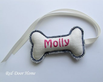 Personalized  Dog Christmas Stocking Tag Embroidered Label Ornament Name Monogram  Pet Pink and Blue