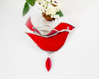 Stained Glass Suncatcher The Little Red Bird Ornament Home Decor