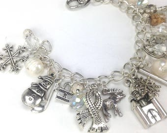 The Snow Queen fairytale fantasy crystal charm bracelet mittens ice palace Olaf winter snowman