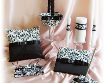 Damask weddings, Madison Damask basket, pillow, bridal garters, candles, guest book and pen,  10 pieces  black and white