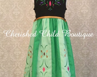 Frozen Princess Anna's Coronation inspired dress. Perfect for your Disney vacation.