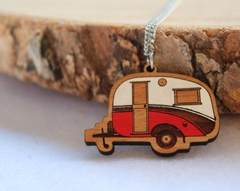 Laser cut wood necklace pendant, Cosy, cute vintage caravan, red and white handpainted