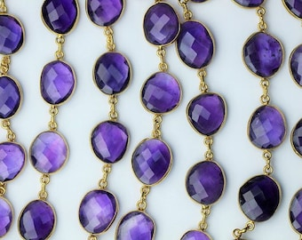 Amethyst Bezel Set Connector Chaine Necklace Gold plated Jewelry