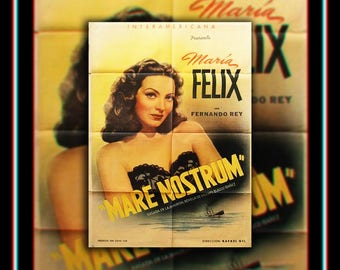 MARE NOSTRUM On Linen (1948) Very Rare 27x40 Rolled US One Sheet Movie Poster Original Vintage Collectible