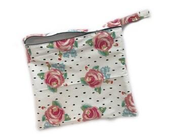 Wetbag, Swim bag, Make up Bag, Waterproof Zipper Pouch, Floral Black & White Dot