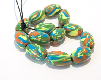 NOW ON SALE Handmade Polymer Clay Beads Marbled Ovals