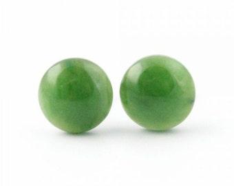 Canadian Nephrite Jade Stud Earrings