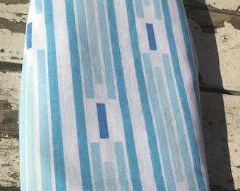 Vintage Twin Stripe flat sheet. Blue stripe pattern twin vintage flat sheet.