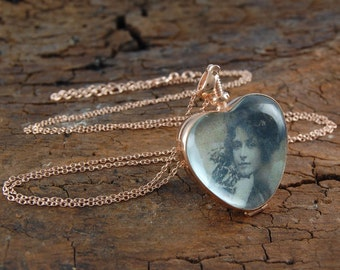 Heart Necklace, Rose Gold Heart Necklace, Heart Locket, Rose Gold Necklace, Memory Locket, Antique Locket, Photo Locket, Picture Locket