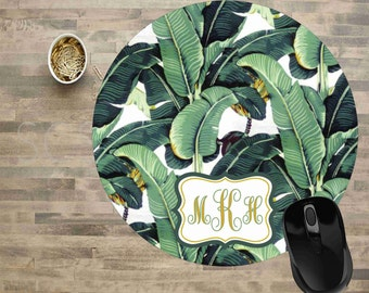 Banana Leaf Mouse Pad, Mouse Pad, Computer Mouse Pad, Mouse Pads, Monogram Mouse pad