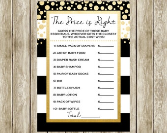 The Price is Right, Printable Baby Shower Game, Black White and Gold, Baby Shower, Instant Download, 014
