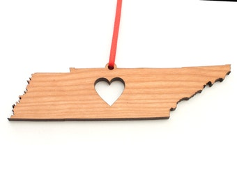 Heart Tennessee Christmas Ornament - TN State Shape Ornament with Christmas Heart Cutout - Tennessee Ornament Design by Heart State Shop