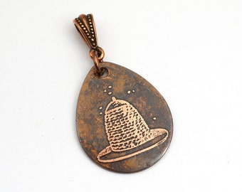 Copper beehive pendant, flat etched copper teardrop bee jewelry, optional necklace, 29mm
