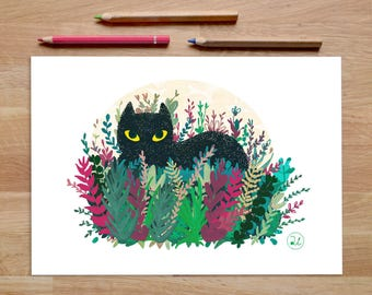 Black Cat Art Print, cat artwork, foliage prints, cat decor, cat gifts, black cat, cat lover gift, Leaf print, jungle print, tropical print