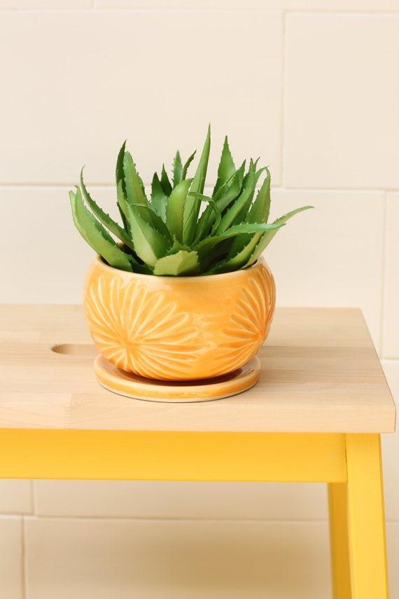 orange succulent planter // cactus planter // succulent pot // ceramic pot // flower pot