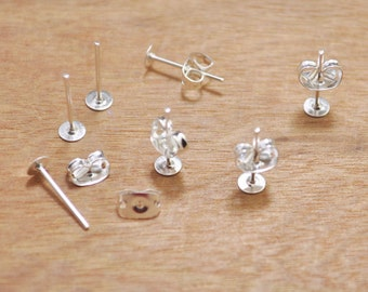 Black Earrings-100pcs (50 pairs) Silver Plated 4mm Flat-Pad Earring Posts and Backs diy jewelry finding supplies