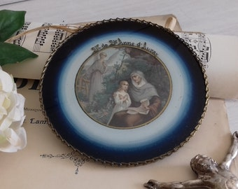Old religious frame souvenir of Sainte Anne d'Auray from the 1920s, Brittany, France