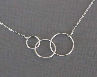 three circles necklace, expectant mother, simple, love, everyday, sterling silver jewelry, N115