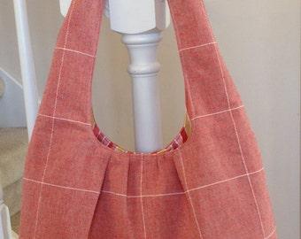 Woman's Shoulder Bag Long Straps Purse Handbag Tote Lined - Light Red