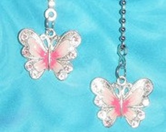 Set of Two - Little Pink Butterfly - Ceiling Fan Pull Chains