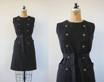 vintage 1960s dress / 60s grey wool pinstripe dress / 60s double breasted dress / 60s wool shirt dress / sloat wool dress / medium large