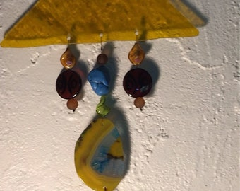 Agate, Beads & Stained Glass Mobile