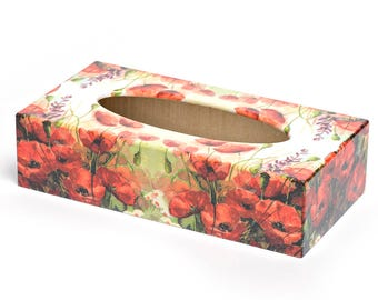 Poppy Tissue Box Cover handmade wooden perfect gift