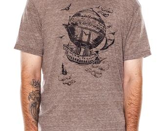 Airship Men's t-shirt, Vintage Steampunk T-shirt, Mens graphic tee, Gift, Art T-shirt, Cool t-shirt