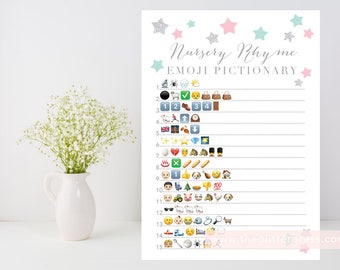 Nursery Rhyme Quiz, Emoji Pictionary printable game, Twinkle little star baby shower, pink mint silver, INSTANT DOWNLOAD, 006
