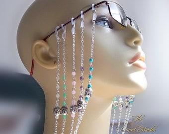 Buddha Glasses Chain, Spectacle Chain, Gemstone Glasses Chain, Eyeglasses, Glasses Holder, Reading Glasses Chain, Sunglasses, 5 Bead Options