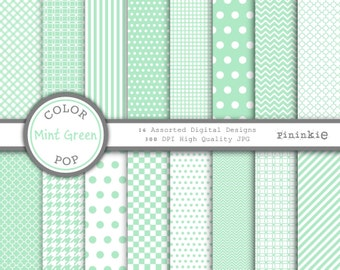 Green Digital Paper - Mint Green - Instant Download - Commercial Use - green chevron, green polka dots, green quatrefoil - Pastel Green