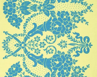 SALE--BEAUTY QUEEN--Jennifer Paganelli--Valerie border print--Yellow--price is per yard