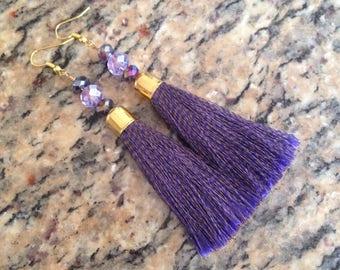Silk Tassel Earrings, Purple Silk Tassel  Earrings, Purple Silk Tassel Dangle Earrings